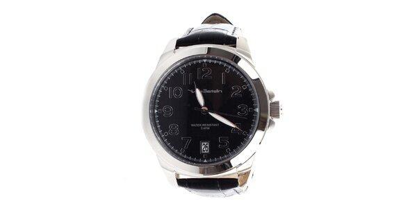 Pánske hodinky s čiernym koženým remienkom Yves Bertelin