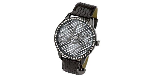 Dámske tmavé hodinky s kamienkami Lipsy