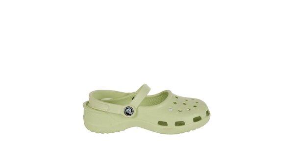 Dievčenské zelenkavé papuče s pásikom Crocs