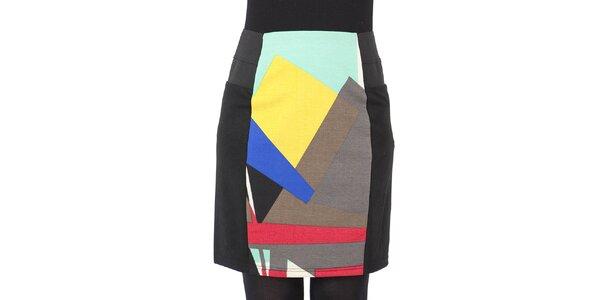Dámska čierna sukňa s viacfarebným stredom Ginger and Soul