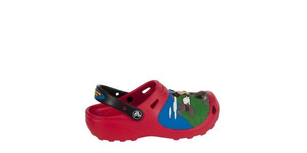 Chlapčenské červeno čierne papuče Crocs