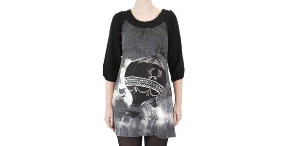 Dámske šaty s čierno-bielou potlačou Ginger and Soul