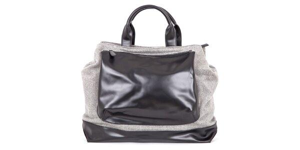Dámska šedá kabelka s čiernym vreckom Ginger and Soul