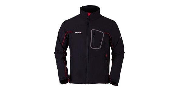 Pánska čierna softshellová bunda s červenými prvkami Izas