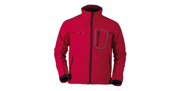 Pánska červená softshellová bunda s čiernymi prvkami Izas