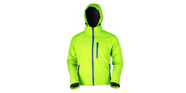 Pánska svetlo zelená softshellová bunda s modrým zipsom Izas