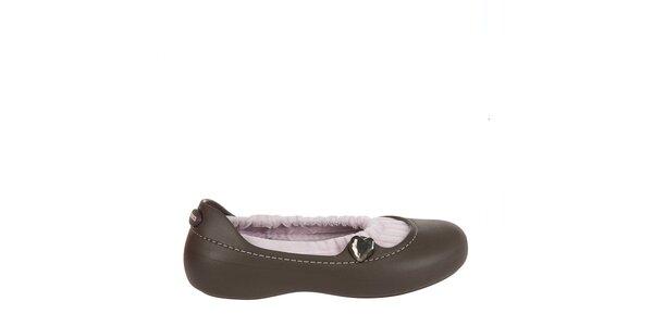 Dievčenské čokoládovo hnedé balerínky Crocs