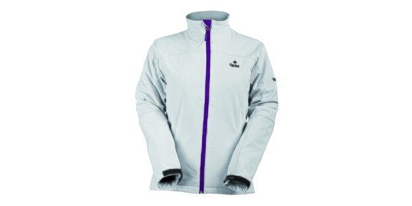 Dámska biela softshellová bunda s fialovým zipsom Izas
