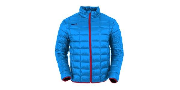 Pánska tmavo modrá prešívaná bunda s červenými prvkami Izas