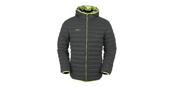 Pánska tmavo šedá páperová bunda s kapucňou Izas