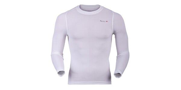 Pánske funkčné tričko s dlhým rukávom v bielom prevedení Izas