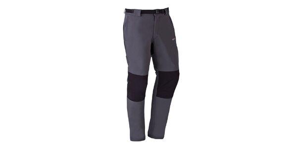 Pánske tmavo šedé strečové nohavice s čiernymi prvkami Izas