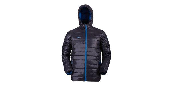 Pánska čierna páperová bunda s modrými detailmi Izas