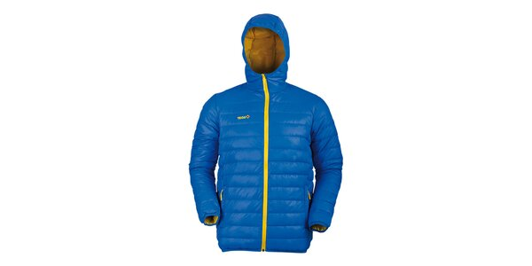 Pánska modrá páperová bunda so žltými detailmi Izas