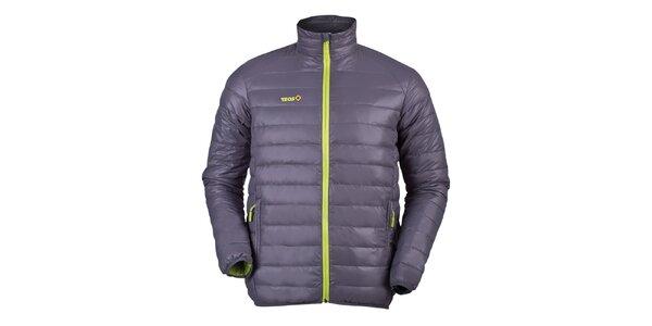 Pánska prešívaná páperová bunda v šedej farbe Izas