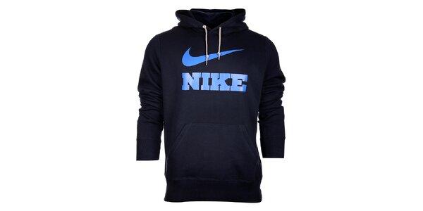 Pánska tmavo modrá mikina Nike s kapucou a modrým logom