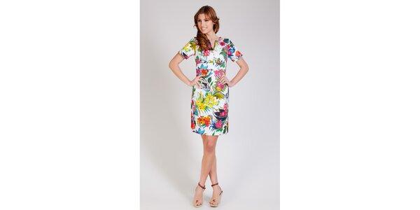 1ae2d950d4d6 Dámske biele púzdrové šaty Tonala s kvetinovým vzorom