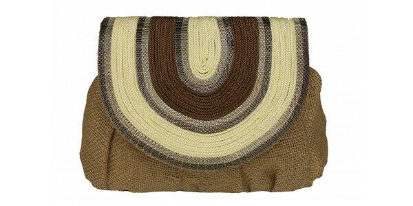 Dámska hnedo-béžová ľanová kabelka Tantra s retiazkou