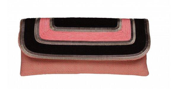 Dámska ružová ľanová kabelka Tantra s retiazkou a čiernym detailom