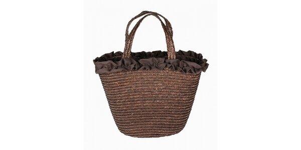 Dámska čokoládovo hnedá slamená taška Tantra s volánovým lemom