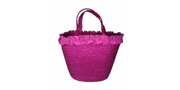 Dámska fuchsiová slamená taška Tantra s volánovým lemom