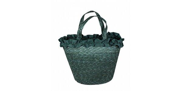 Dámska tmavo zelená slamená taška Tantra s volánovým lemom