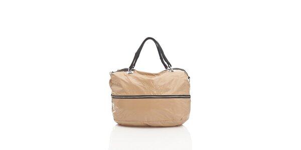 Dámska béžová textilná kabelka Tantra so strieborným zipsom