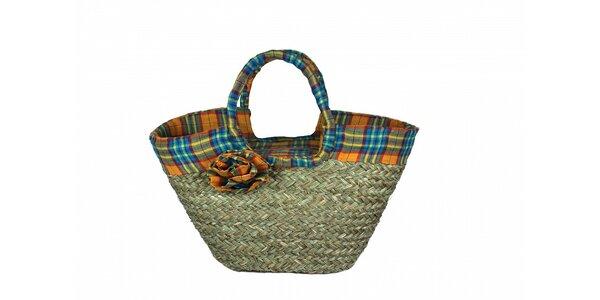 Dámska slamená taška Tantra s modrým kockovaným lemom