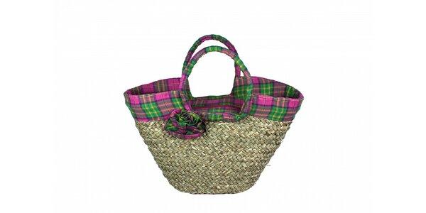 Dámska slamená taška Tantra s ružovo-zeleným lemom