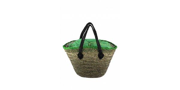 Dámska plážová taška z morskej trávy Tantra so zelenou vložkou