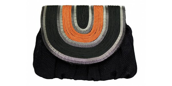 Dámska čierna ľanová kabelka Tantra s retiazkou a oranžovým detailom