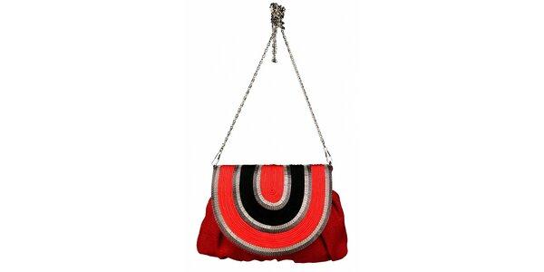 Dámska červená ľanová kabelka Tantra s retiazkou a čiernym detailom