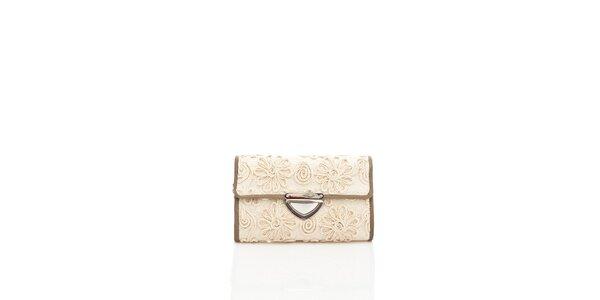 Dámska krémová čipková kabelka Tantra s hnedým lemom