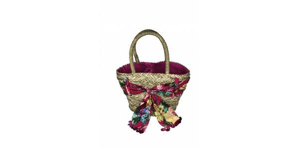 Dámska plážová taška z morskej trávy Tantra s kvetinovou šatkou