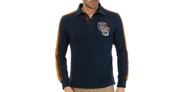 Pánske tmavo modré polo tričko s pruhmi na rukávoch Galvanni