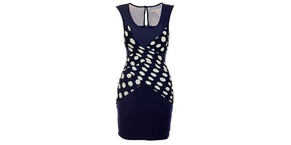 Dámske tmavo modré šaty Lucy Paris s bielymi bodkami