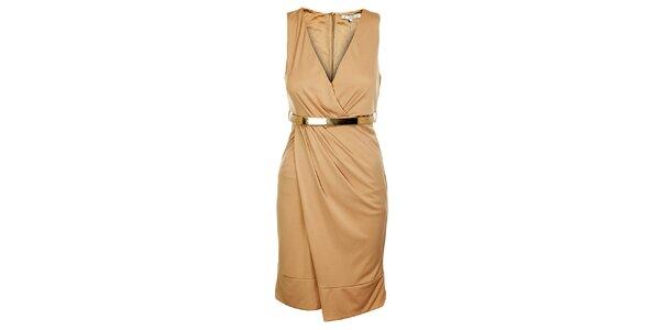 Dámske svetlo béžové šaty Lucy Paris s opaskom