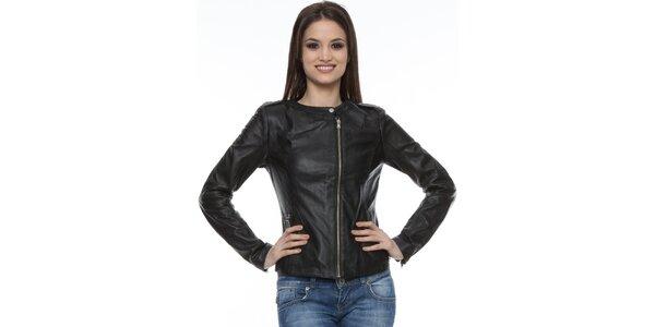 49251b8b4292 Dámska čierna kožená bunda Mangotti