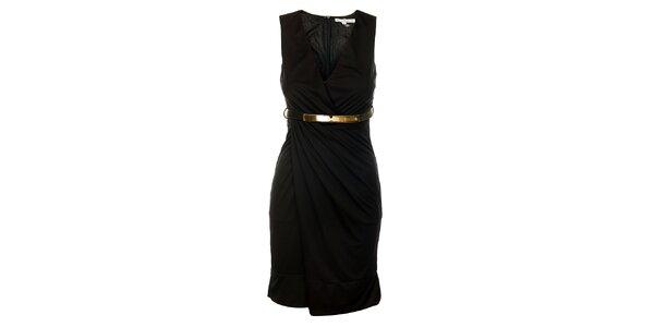 Dámske čierne šaty Lucy Paris s opaskom