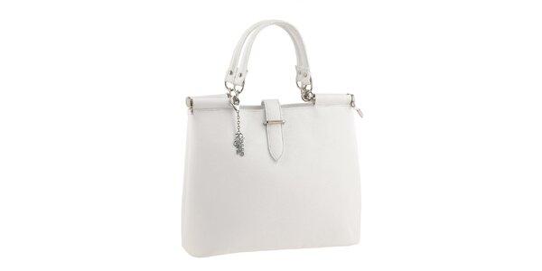 Dámska jednoduchá biela kabelka s príveskom Classe Regina