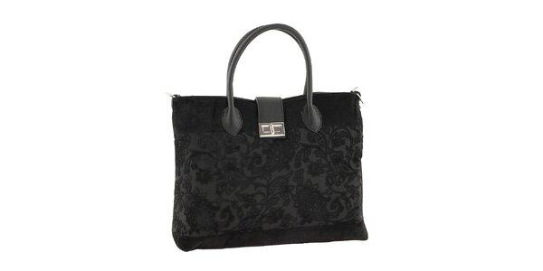 Dámska čierna kabelka s kvetinovým vzorom Classe regina