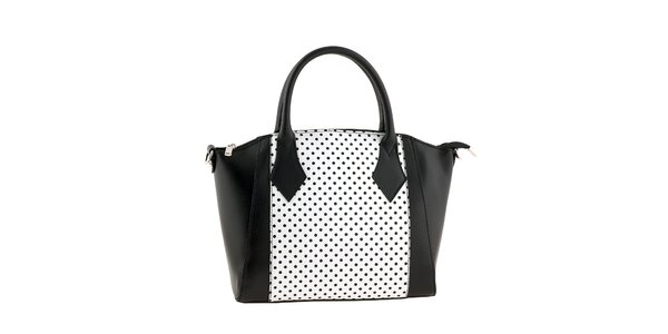 Dámska čierno-biela kabelka s bodkami Classe regina