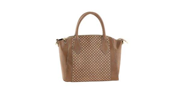 Dámska svetlo hnedá kabelka s bielymi bodkami Classe regina