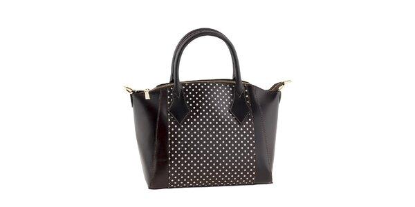 Dámska tmavo hnedá kabelka s bielymi bodkami Classe regina