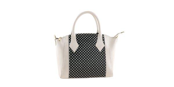 Dámska bielo-čierna kabelka s bodkami Classe regina