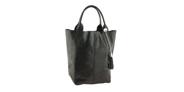 Dámska čierna kožená kabelka so strapcom Classe Regina