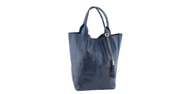 Dámska modrá kožená kabelka so strapcom Classe Regina