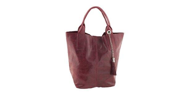 Dámska červená kožená kabelka so strapcom Classe Regina