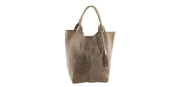 Dámska kožená kabelka so strapcom Classe Regina