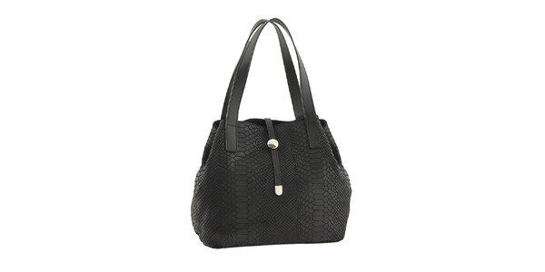 Dámska čierna kožená kabelka so vzorom Classe regina